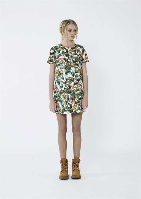 High Life Dress White Hawaiian Print by The Fifth Label