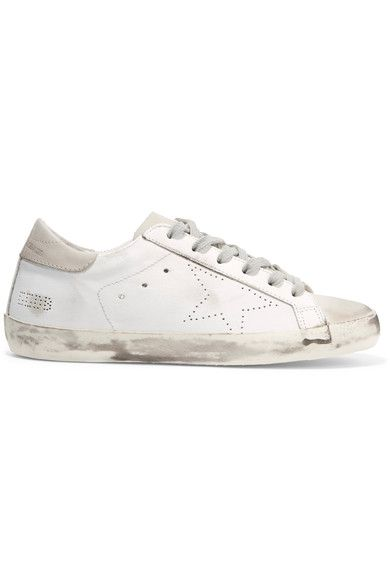 Golden Goose Deluxe Brand - Super Star Distressed Suede-paneled Leather Sneakers - White - IT36