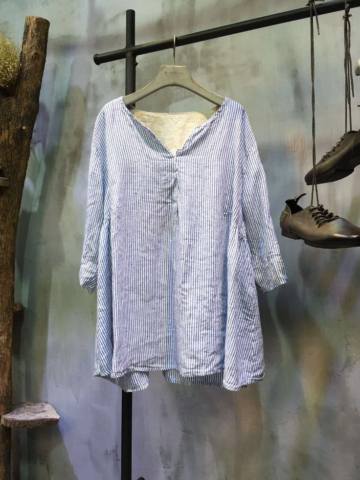 Simple Design V-Neck Pinstripe Blouse Spring Flax Clothing    #linen #blue #striped #loose #summer #blouse #shirt #casual