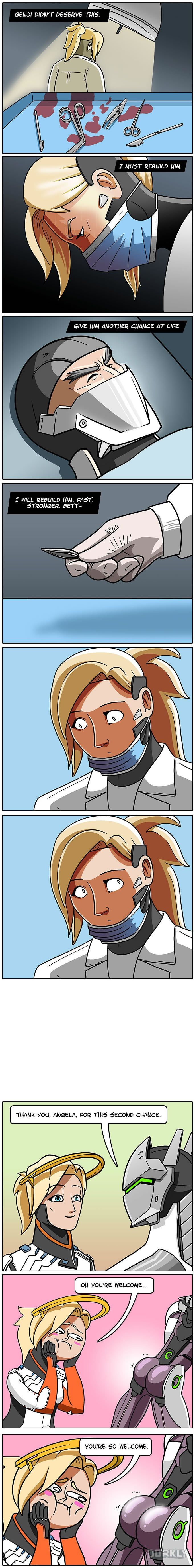 Overwatch's Secret Story Behind Mercy and Genji - 9GAG
