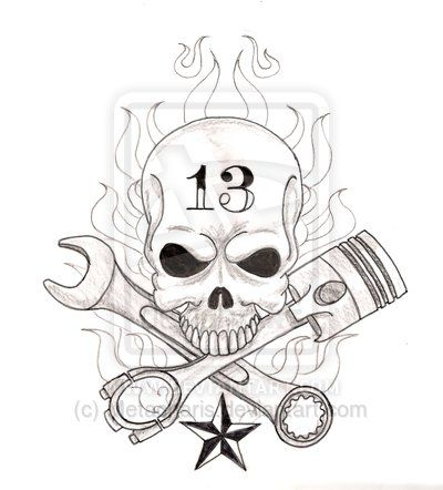 Skull with Crossed Wrench and Piston Tattoo by Metacharis.deviantart.com on @deviantART