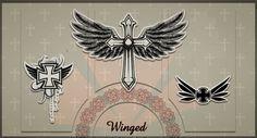 winged cross neck tattoo for women