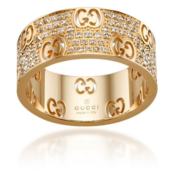 Spectacular Gucci Gold u Cognac Diamond Icon Stardust Band liked on Polyvore