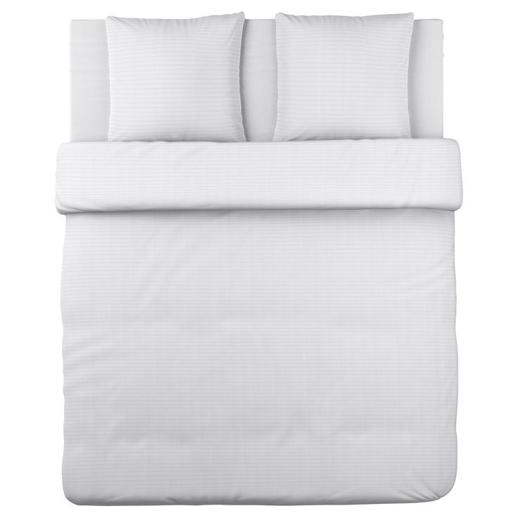 OFELIA VASS Housse de couette et 2 taies - blanc, 240x220/65x65 cm - IKEA