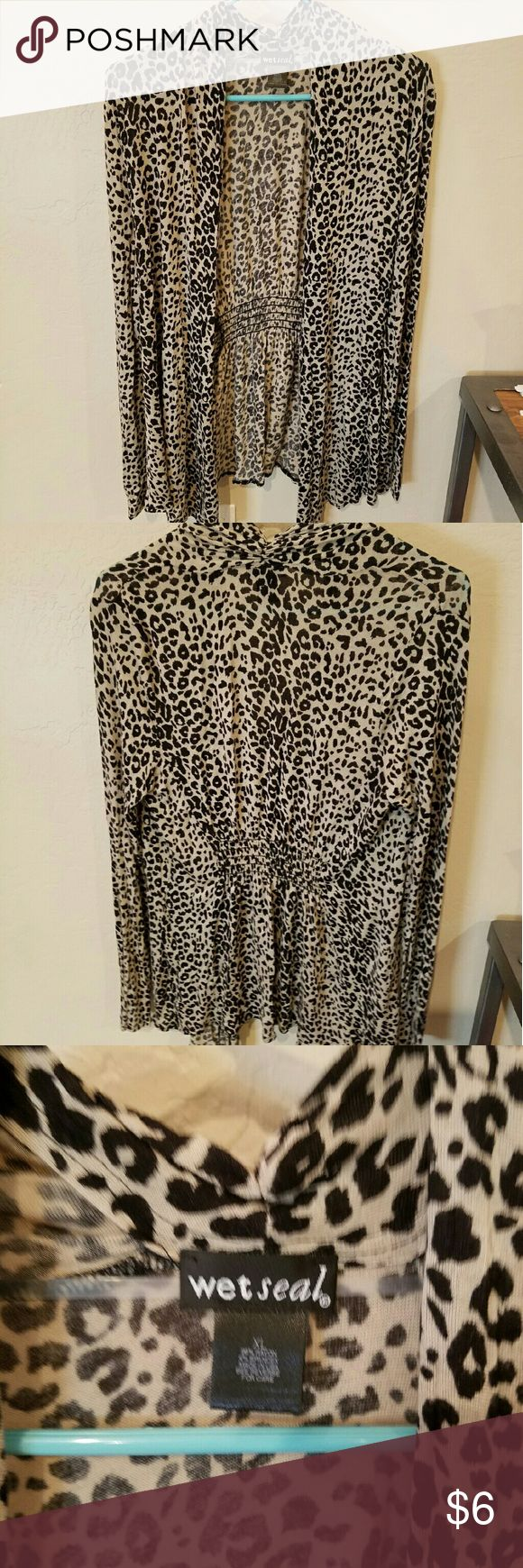 Wet Seal, Leopard/cheetah cardigan, Juniors XL Wet Seal, Leopard/cheetah Cardigan, Juniors XL. Good condition Wet Seal Sweaters