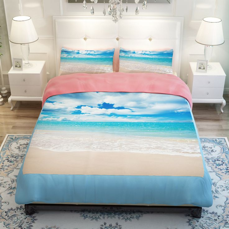 Online Shop Beach Blue Ocean Skyline Bedding Set Twin & Queen & King Size Bed Sheets Pillowcase Duvet Cover / Colchas / housse de couette|Aliexpress Mobile