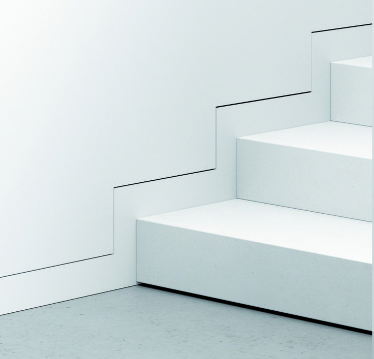"""The baseboard flush with the wall it's an innovative idea for decorating house spaces in an elegant, minimal and modern way. Unlike the traditional baseboard, this """"flush with wall"""" version runs along the wall without protruding. This solu"""
