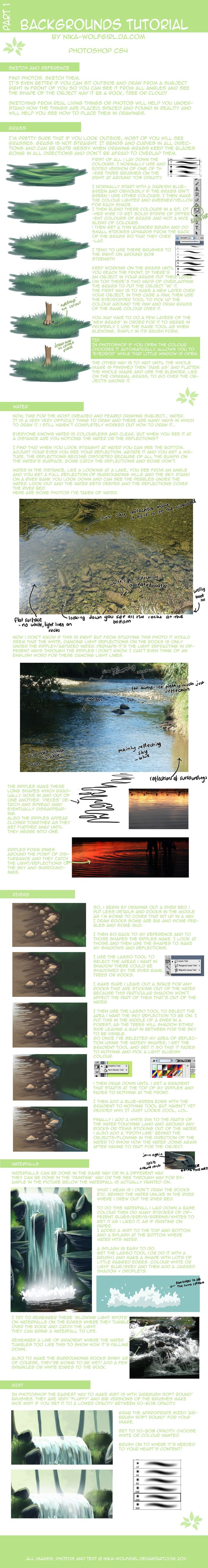 Tips for painting grass and water. This may be a digital tutorial, but there are loads of useful tips about how to transfer a reference into an image...