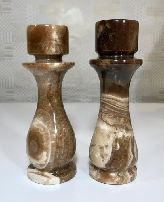 Vtg 70s Carved Stone Candle Holders Alabaster Marble Brown Etsy