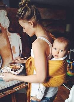 painting hippie boho Motherhood attatchment parenting