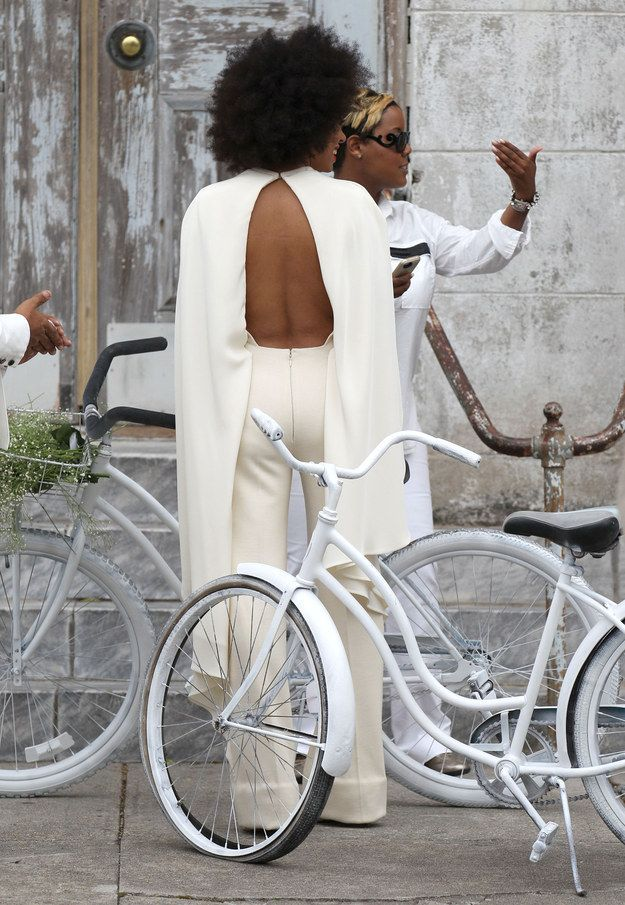 And the BACK!   Solange Wore The World's Most Amazing Jumpsuit To Her Wedding