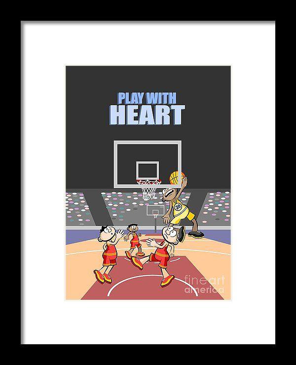 Spiel mit dem Herzen Der Basketballspieler springt an die Tafel Gerahmter Druck von Daniel Ghioldi   – Framed Print
