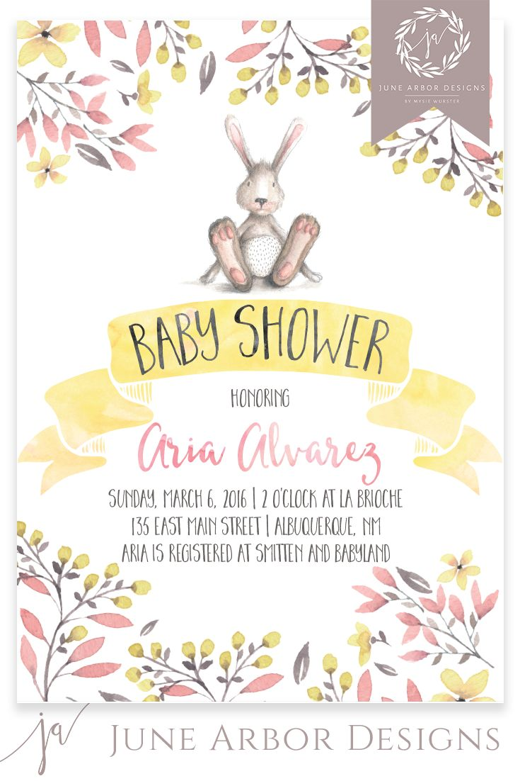 Floral Water Color Baby Shower Invitation  Printready Pdf Or Printed  Cards  Bunny  Peter Rabit  Baby Girl  Envelopes Included
