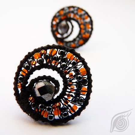 earrings Dark spiral; sold; cotton, rocail, steel; nycrame; by Nady