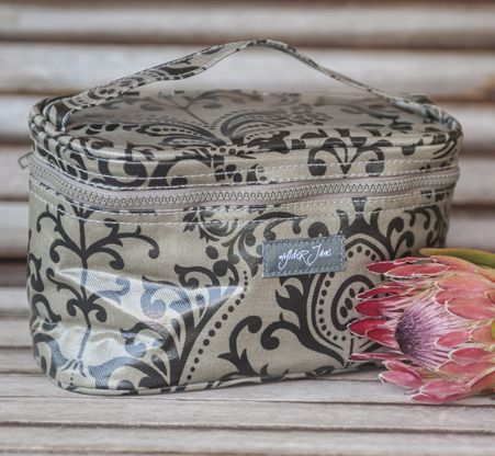 audrey bag [filigree empire black fabric] - perfect for keeping cosmetics and toiletries neat and tidy when traveling.  also makes a stylish lunch box or pencil case for the kids, or for you!