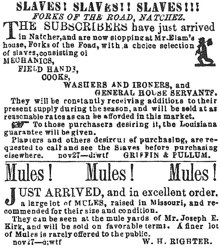 Advertisement for slave sales at the Forks of the Road