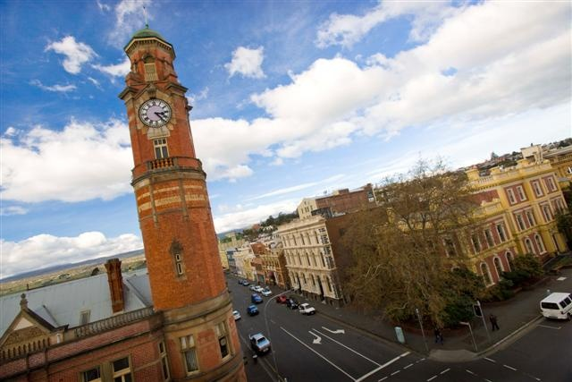 Launceston - The clock tower at the Old Post Office