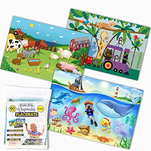 Klean Kids Disposable Placemats For Baby And Kid S Table Farm Sea Life Zoo Train Animals Sticky Topper 60 Pack In 3 Placemats Kids Placemats Kid Table