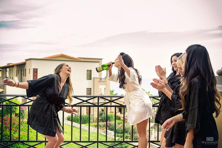 Bride and Bridesmaids at Hotel Pueblo Bonito Sunset Beach Los Cabos. #emweddingsphotography #destinationweddings