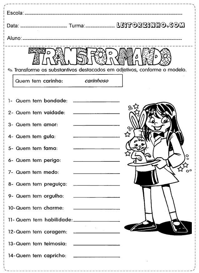 Atividade portugues 4 ano sobre substantivos