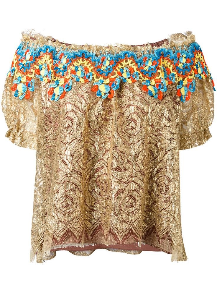 ¡Cómpralo ya!. Peter Pilotto - Embroidered Lace Bardot Top - Women - Silk/Polyamide/Polyester - 10. Gold embroidered lace bardot top from Peter Pilotto featuring an off the shoulder design, an elasticated fastening, short sleeves, frayed edges, embroidered lace multicoloured trim and a silk lining. Size: 10. Color: Metallic. Gender: Female. Material: Silk/Polyamide/Polyester. , tophombrosdescubiertos, sinhombros, offshoulders, offtheshoulder, coldshoulder, off-the-shouldertop…