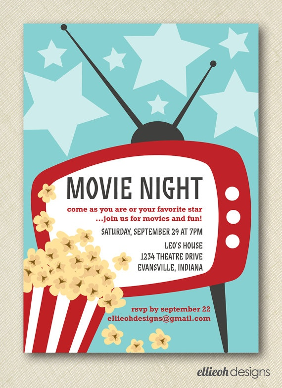 17 best images about movie invitations on pinterest movie theme parties popcorn bar party and. Black Bedroom Furniture Sets. Home Design Ideas