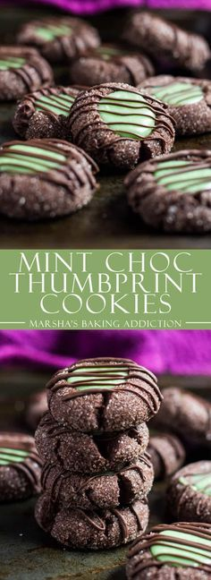 Mint Chocolate Thumbprint Cookies- Deliciously soft, mint-infused chocolate cookies with a creamy white chocolate mint ganache filling! Recipe on marshasbakingaddiction.com | @marshasbakeblog #mintchocolate #thumbprint #cookies #Christmas