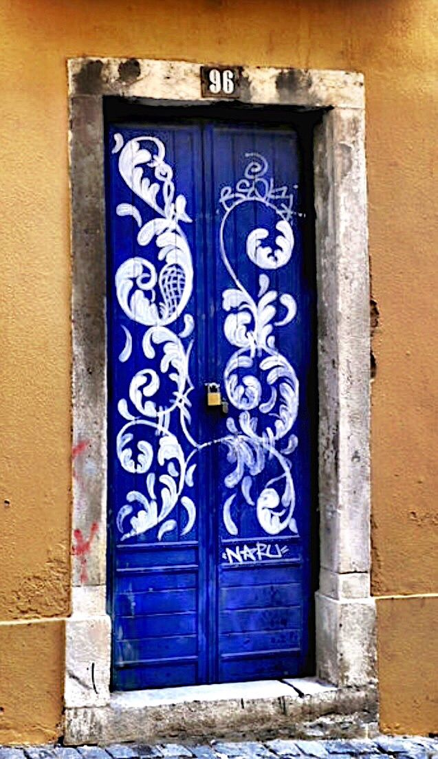 Lisbon Portugal - I love that this door is painted with blue and white like & The 484 best behind this door is???? images on Pinterest | Windows ...