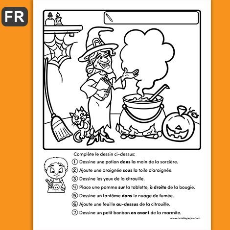 PDF Files Language: French Included versions: script and cursive Black and white 1 page per file Page size: 8.5 X 11 in.  The child has to complete the drawing by following the instructions.