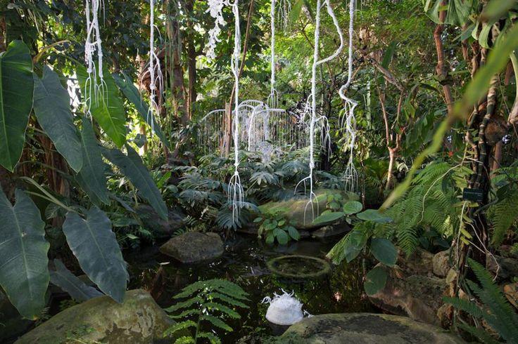Exposition Noces Végétales : Hupa, ce portique de lianes a été réalisé dans une dentelle au motif floral grâce à laquelle elle se fond complètement dans son environnement