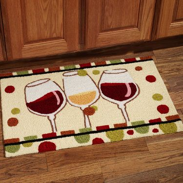 En Vin Wine Glass Handmade Kitchen Rug