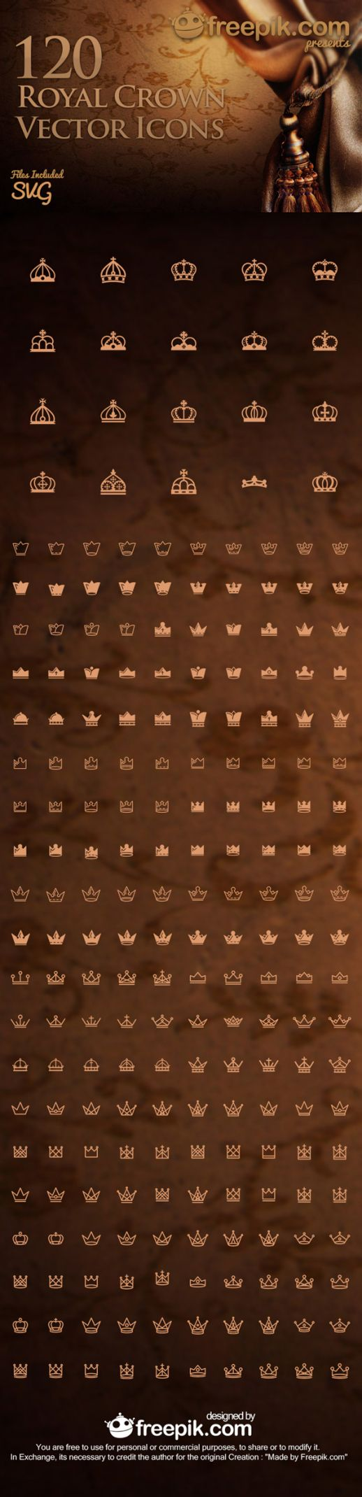 Royal Crown Free Vector Icon Set