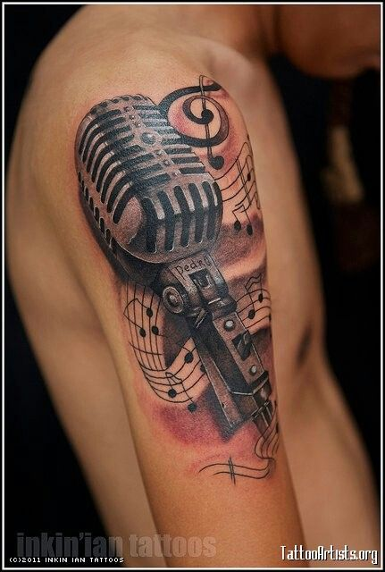 Music notes & microphone tattoo
