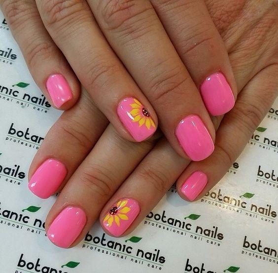 Pink & orange flower summer nail art design | nails