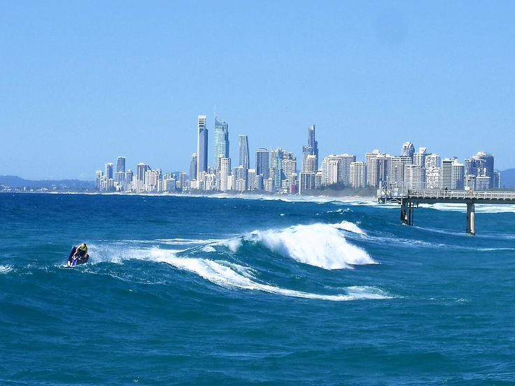 Looking back towards Surfers Paradise from the Seaway on the Spit