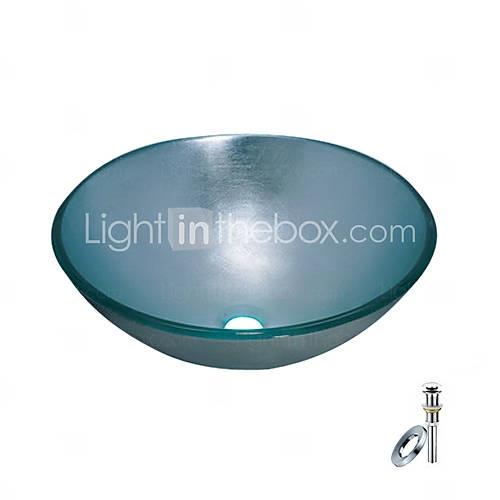 blauwe ronde gehard glazen vat wastafel