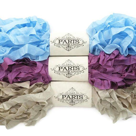 Seam Binding Ribbon Blue Purple Rayon Shabby Crinkled
