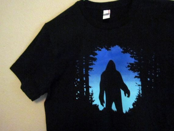 Dark to light blue gradient screen print on 4.5oz super soft Anvil ringspun tees. made with real yeti fur