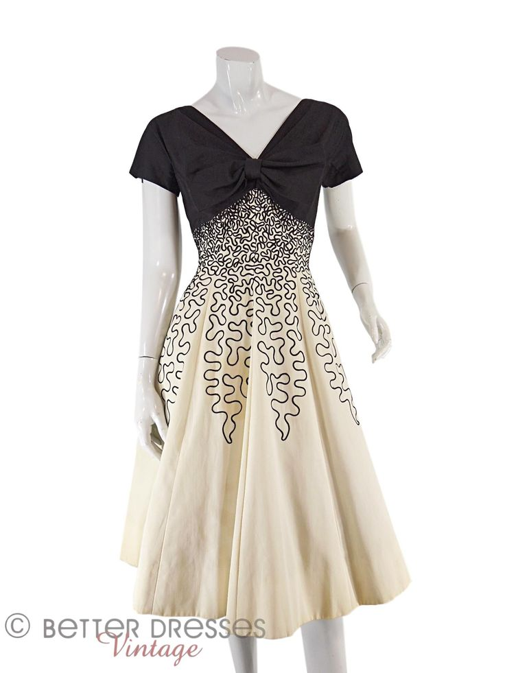 50s Black and Cream Party Dress - sm