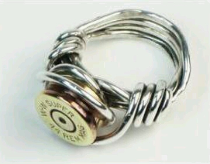 unique wire wrapped bullet shell casing ring sterling silver wire with pure brass recycled bullet shell casing please specify size - Redneck Wedding Rings
