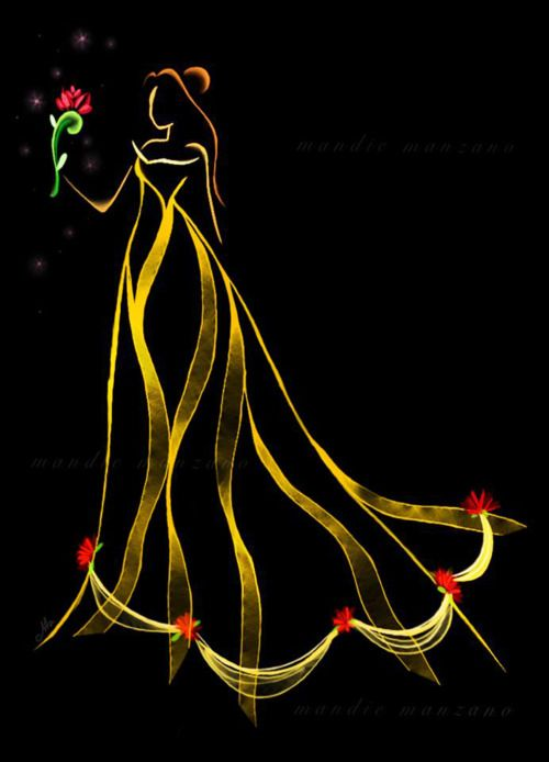 : Princesses Belle, Disneyart, Princesses Art, Disney Princesses, Ribbons Art, Beautiful, Disney Art, The Beast, Princesses Ribbons