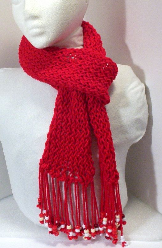 lightweight red knitted scarf with beaded fringe 65 by constersue, USD7.00 I ...