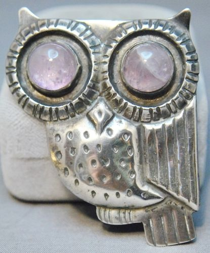 Vintage William Spratling Mexican silver owl brooch with huge cabochon amethyst eyeballs: Owl Brooches, Silver Owl