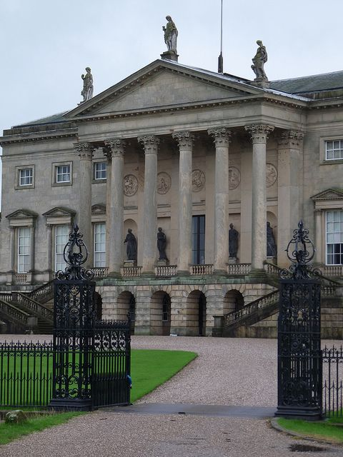 Palladian portico of Kedleston Hall    Kedleston Hall is a stately home in Derbyshire, England, owned by the National Trust. It is the seat of the Curzon family and was built from 1759-65 for Nathaniel Curzon, the first Baron Scarsdale. The main architect was Robert Adam, the famous exponent of neoclassicism.    This picture shows the central section of the north front of the house with its grand portico, held up by Corinthian columns.