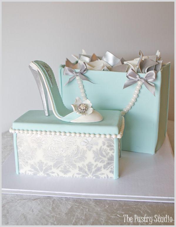 stiletto heel, shoebox and shopping bag cake