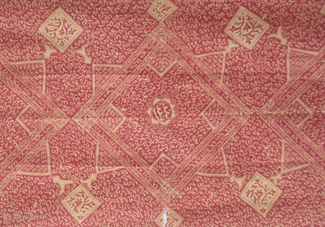Kain Kaligrafi. Jambi, Sumatra, Indonesia. 20th century batik cloth with stylized calligraphy. Used as a ceremonial shroud or a ritual shoulder cloth. The striped pattern along each end is typical of Jambi batik  ...