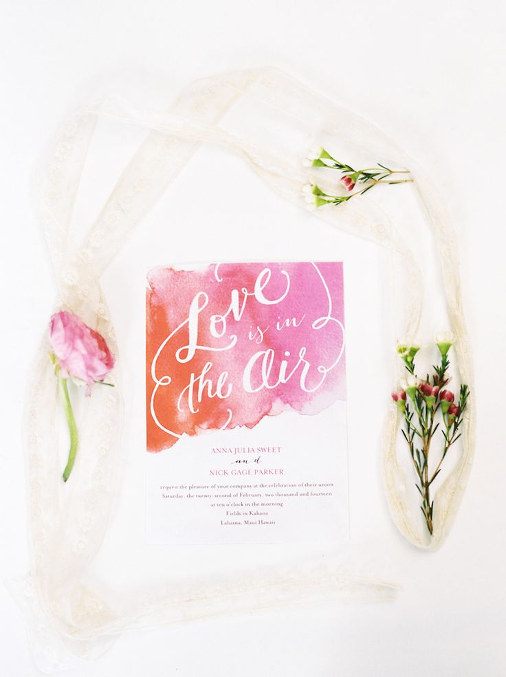 sample wedding invitation email wording to colleagues%0A Pink Maui Bridal Shoot  Watercolor Wedding InvitationsWedding