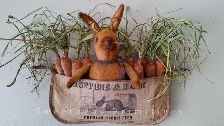 Primitive Vintage Style Feed Sack Apron Easter Folk Art Spring Bunny Rabbit Doll #NaivePrimitive #SweetpeasPrimitives