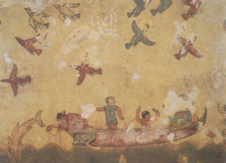 Tarquinia, tumba da Caça e Pesca (cerca de 530 a.C.). Detalhe do final da parede mostrando uma cena de pesca.