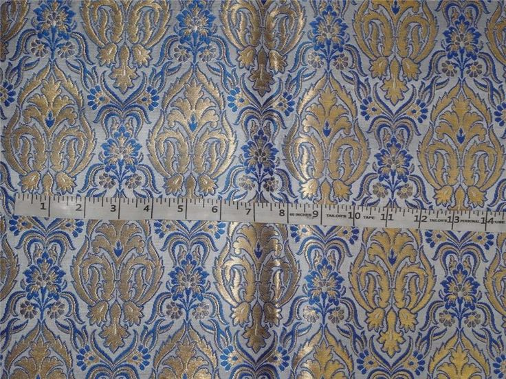 HEAVY SILK BROCADE FABRIC IVORY, BLUE X METALLIC GOLD COLOR 36""